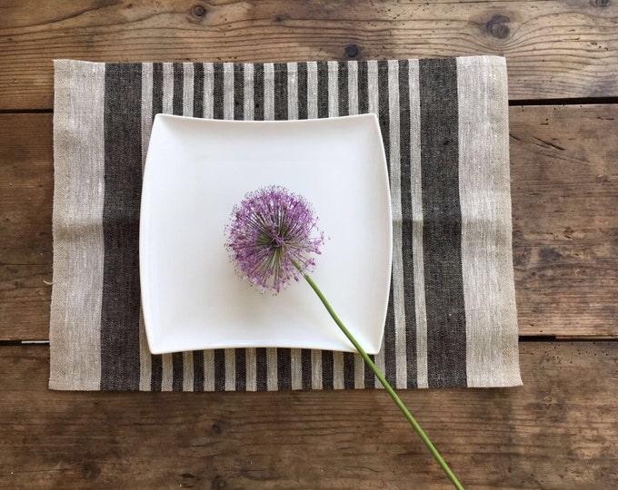 Linen placemats, set of 6 linen placemats, cloth placemats, striped placemats, rustic placemats, country placemats, washable placemats