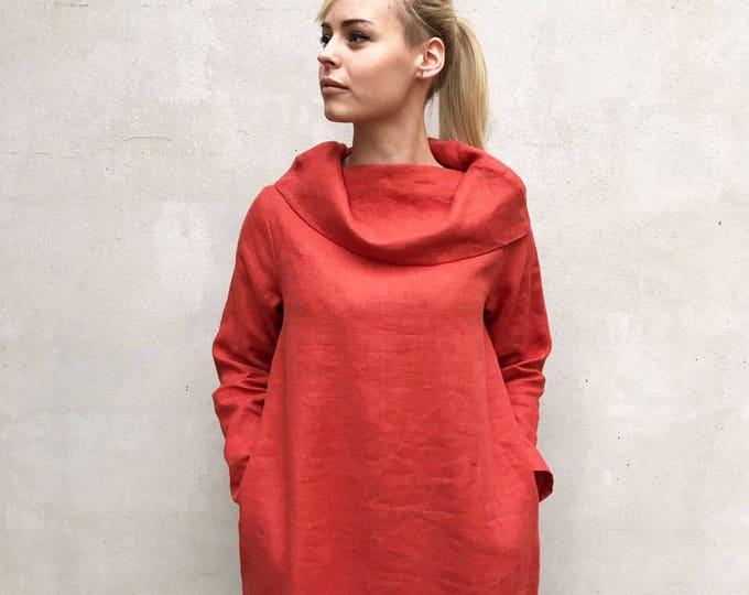 Linen Tunic Dress with Raised Neck, Womens Dress, Linen Dress, Long Sleeve Tunic Dress, Plus size tunic, Linen Dress for Women, Womens tunic