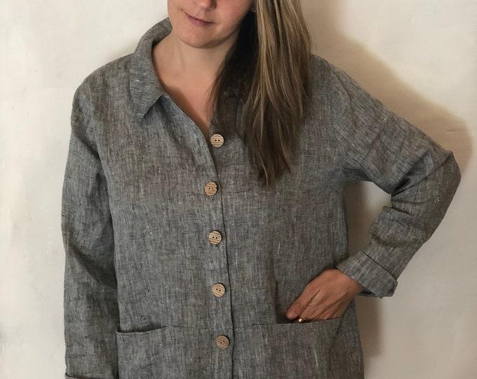 Linen Jacket Women 'Kim' Linen cardigan, Linen Coverup, Grey Linen Blazer, Womens Linen Jacket, Womens Jacket, Plus size Cardigan