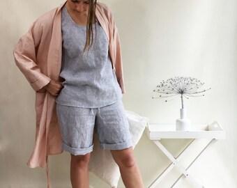 Striped Women pyjama, linen pajama, womens pajama shorts and top, pajama loungewear, gift for her, valentines gift, short linen pyjama