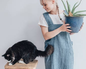 Blue Linen Pinafore Apron