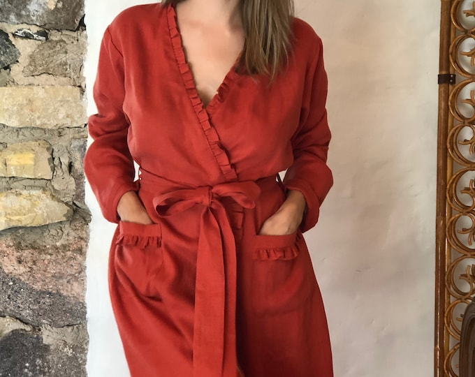 Linen robe, soft robe, robe coverup, robe for bride, linen bath robe, linen night gown, morning dress, linen sleep wear, women robe