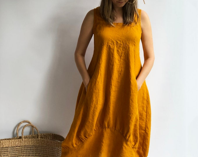 "Linen Summer Dress ""Samantha"" Long Sleeveless Dress Linen Sundress, Womens Dress Summer Plus Size Dress, Sleeveless Dress, Linen Dress Women"