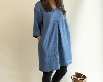 Elegant Linen Tunic, Linen Tunic Dress, Plus Size Tunic, Plus size Dress, Womens tunic, loose linen tunics, plus size clothing, Blue Tunic