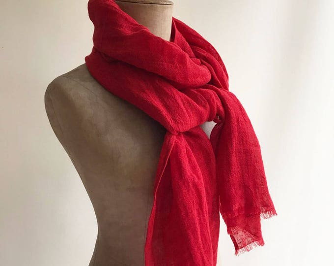 Red Linen Scarf, Eco friendly Scarf, Scarf for Her, Boho Scarf, Pure Linen Scarf, Wrinkled Scarf Red, Light Scarf Red Scarve Linen