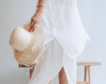 031a736968f Beach Cover Up from Gauzy Linen, Coverup Sheer, Gauzy Lightweight Coverup  Swim Beach Cover Up Dress Plus size cover up Coverup for Swimwear