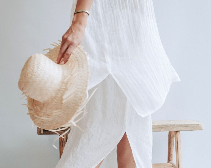 Beach Cover Up from Gauzy Linen, Coverup Sheer, Gauzy Lightweight Coverup Swim Beach Cover Up Dress Plus size cover up Coverup for Swimwear