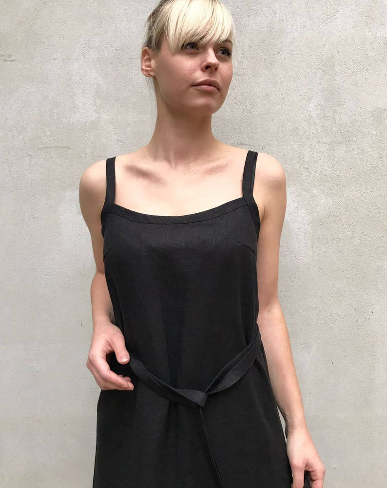 f81bdaf875d5 Black Linen Cami Dress Linen Maxi dress Black Base Layer | Etsy