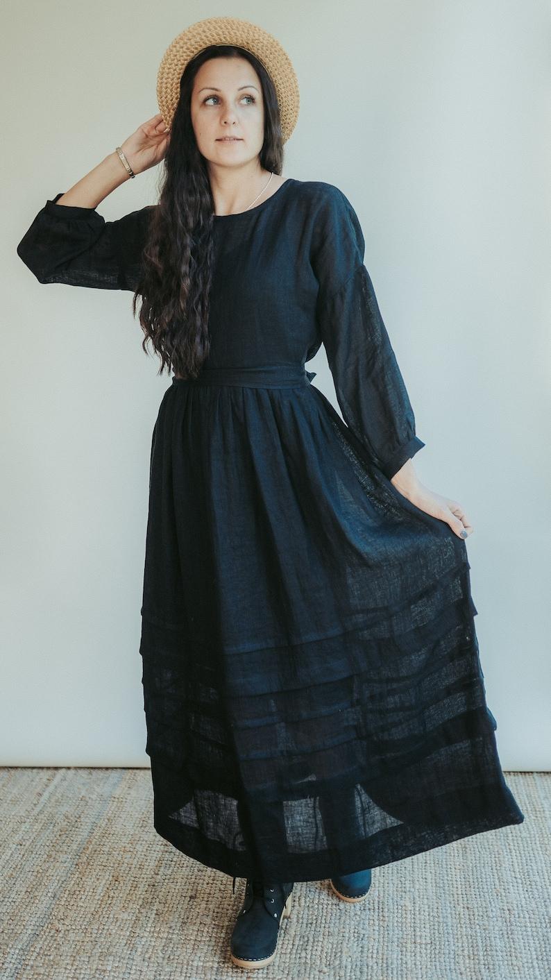 Edwardian Outfit Inspiration & Ideas     Gauze Linen Dress Cecilia Boho Midi Dress Long Womans Dress Maxi Dress Edwardian Dress Black Dress Gothic Dress Black Maxi Dress $163.22 AT vintagedancer.com