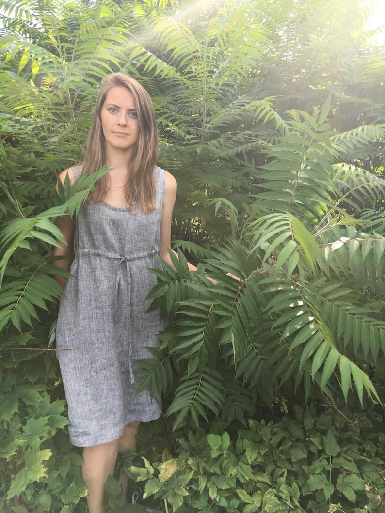 Linen Dress Adjustable Linen Dress Women Loose Dress Sleeveless Pinafore Dress Knee Length Pinafore Linen Pinafore Plus Size Sundress