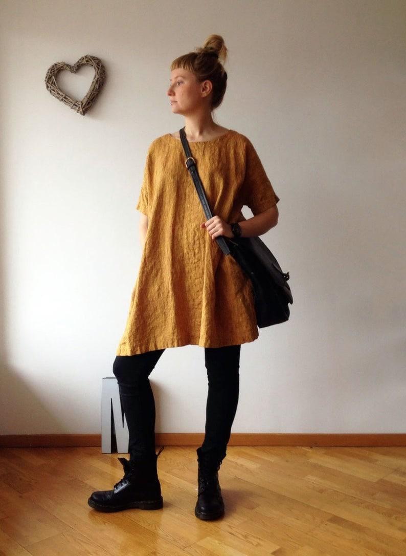 tunic for women,tunic tops Black Tunic tunic shirt linen tunics for women XL Ready to Ship:Loose Linen Tunic Dress
