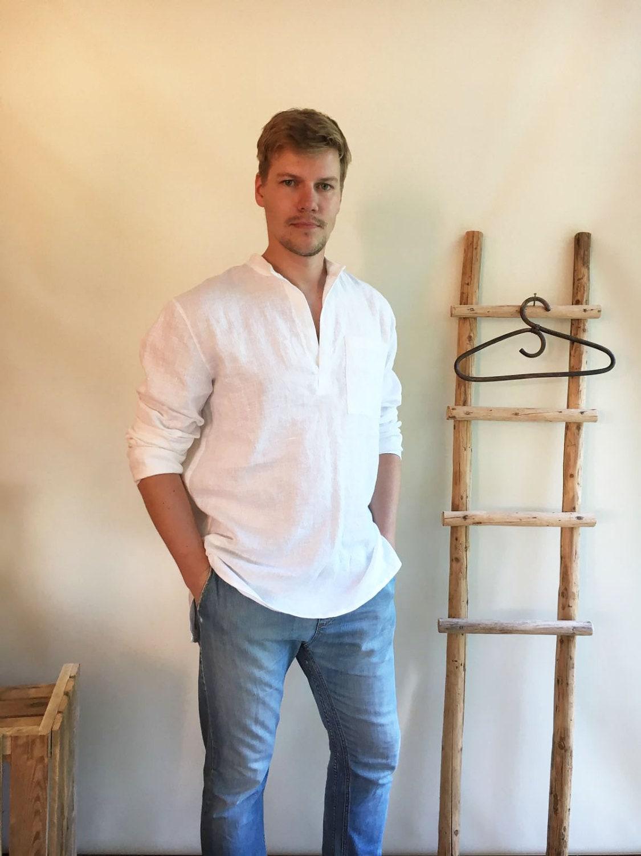 Linen Shirt Men Mens Shirt White Linen Shirt Dress Long Sleeve