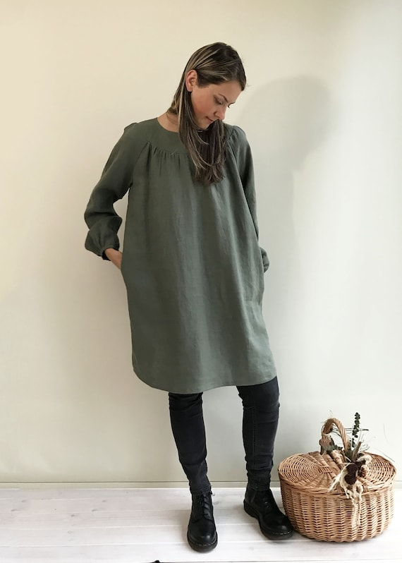 e44fd1df0df Loose Linen Tunic with Beautiful Shirring Womens Tunic Plus