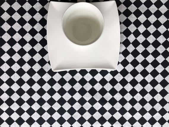 Black And White Checkered Tablecloth Linen Tablecloth Retro | Etsy