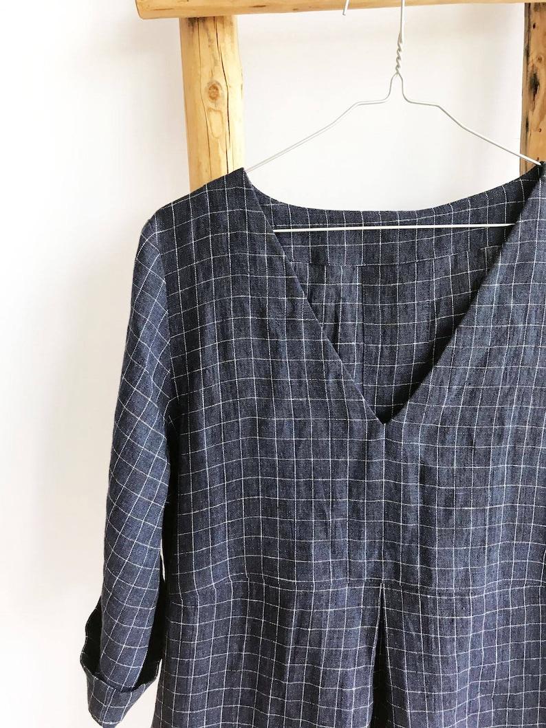 287947df715 Checkered Linen Tunic Dark Navy Blue Tunic Plus size tunic