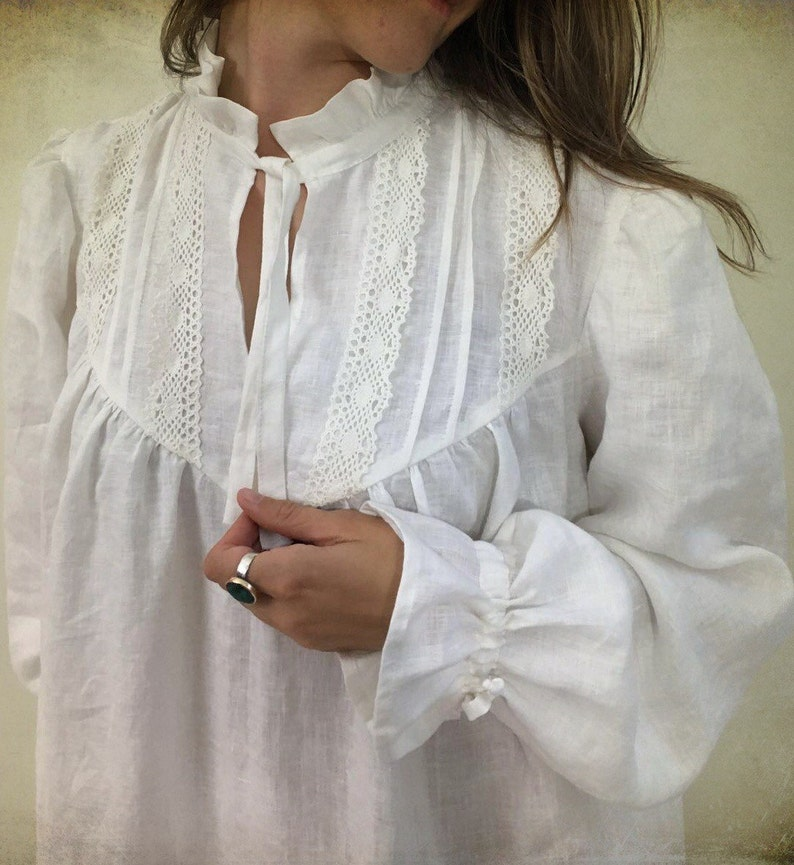 morning dress soft robe robe for bride Handmade Victorian nightgown with lace Linen nightgown nightgown womens kaftan gift for her