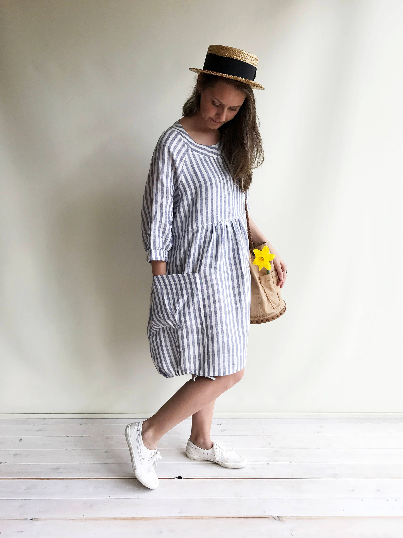 Striped Linen Dress Summer Dress Womens Dress Plus Size  19ffb9143fb