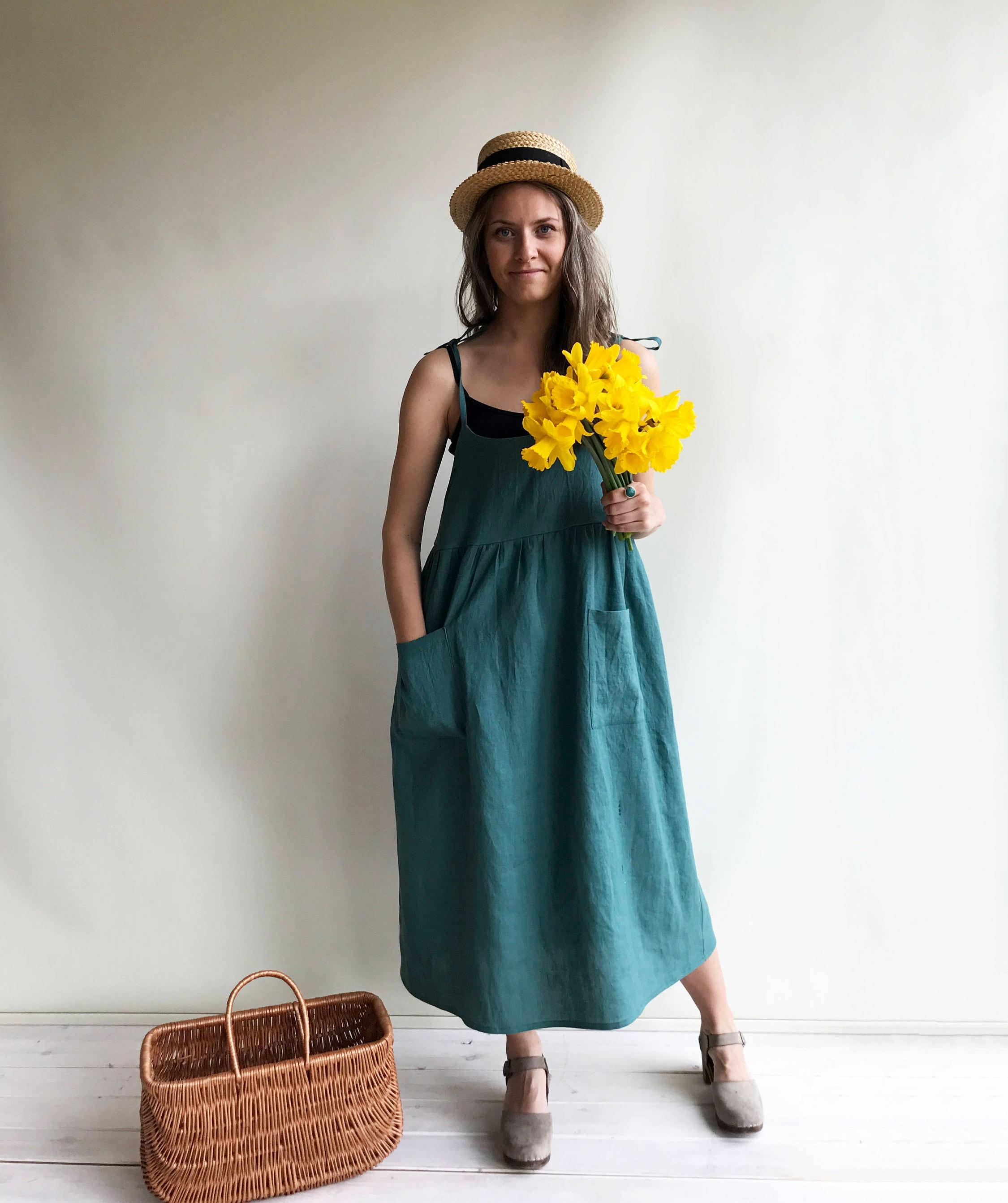 Linen Sundress, Linen Strap Dress, Womens Sundress, Linen Jumper ...