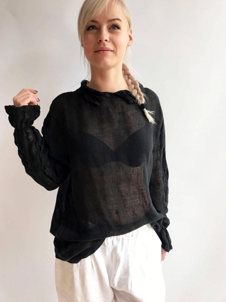 81f1456da5047 Black Gauze Top with Ruffled Cuffs Linen Blouses For Women