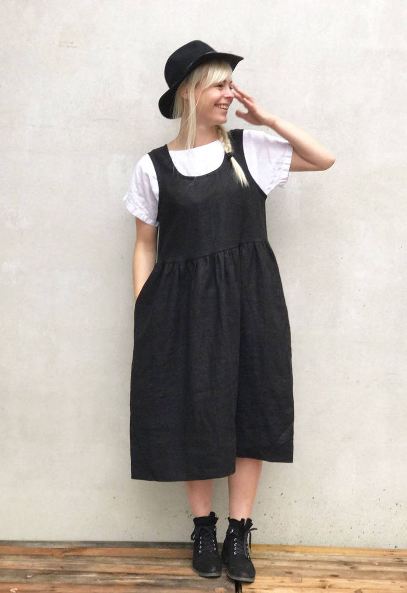 d76c26cb73 Linen Pinafore Dress Black Linen Sundress Sleeveless Dress