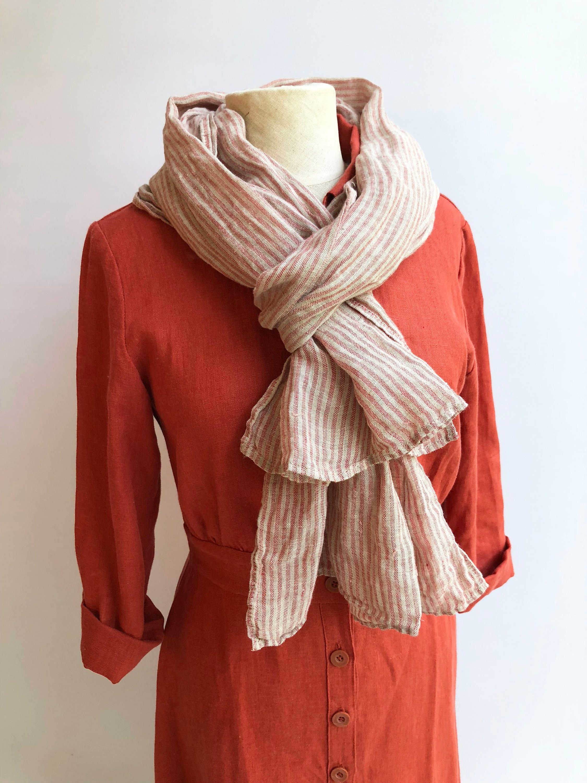 5ec30f20ae6 Striped Gauzy Linen Scarf, Soft Grey and Red Striped Linen Scarf ...