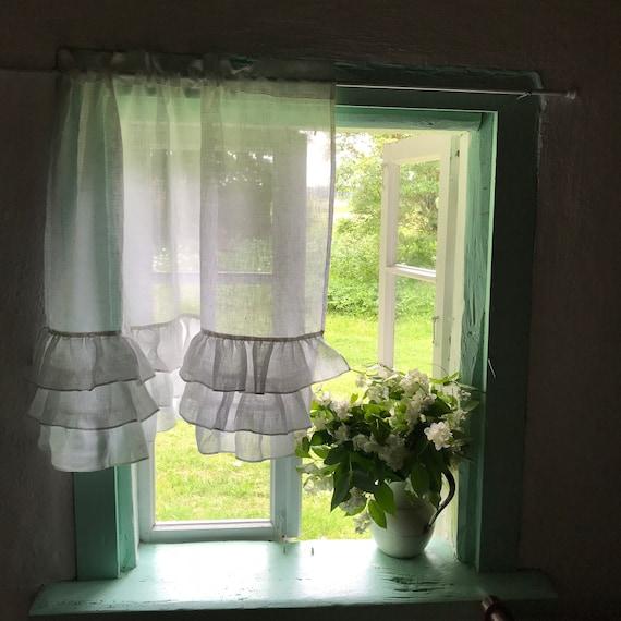 Weiß Leinen Vorhang mit Rüschen reich Rüschen Leinen Volant | Etsy