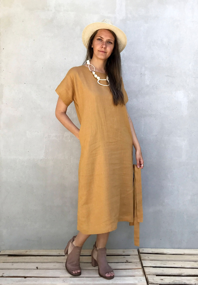 b88799f6bff9 Long Linen Tunic Dress with Short Sleeves Simple Linen Dress   Etsy