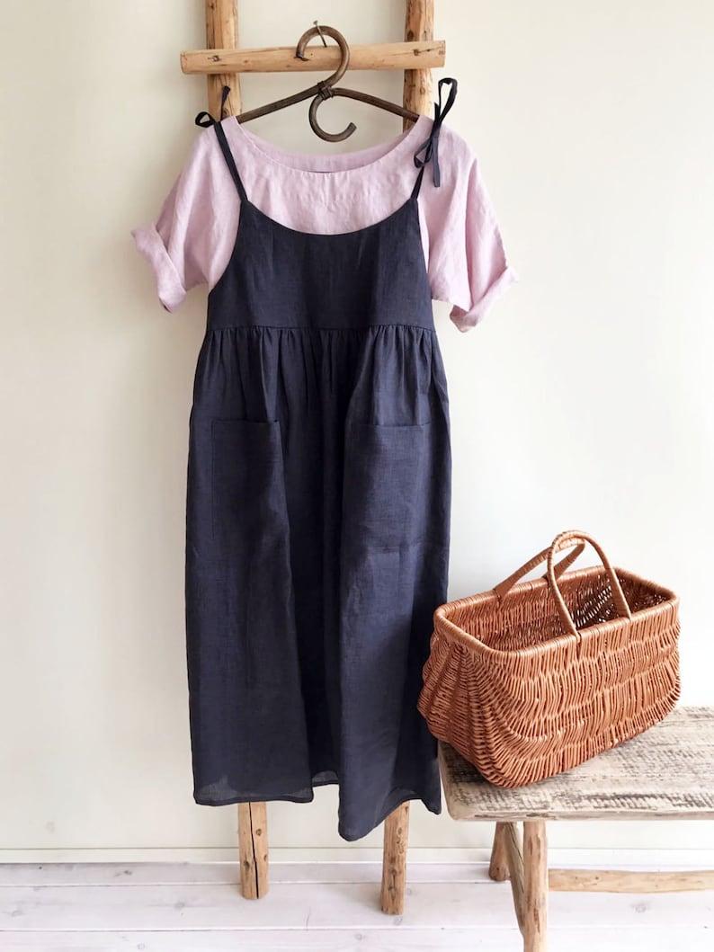 73a8cb449f8 Robe pull lin robe dété robe fine bretelle lin robe dété