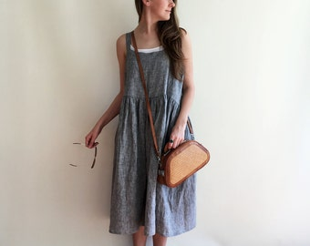 Linen Dress, Pinafore Dress, Sleeveless Maxi Dress, Pinafore Maxi Dress, Linen Maxi Dress, Plus Size Sundress, Linen Dress Women, Jumper