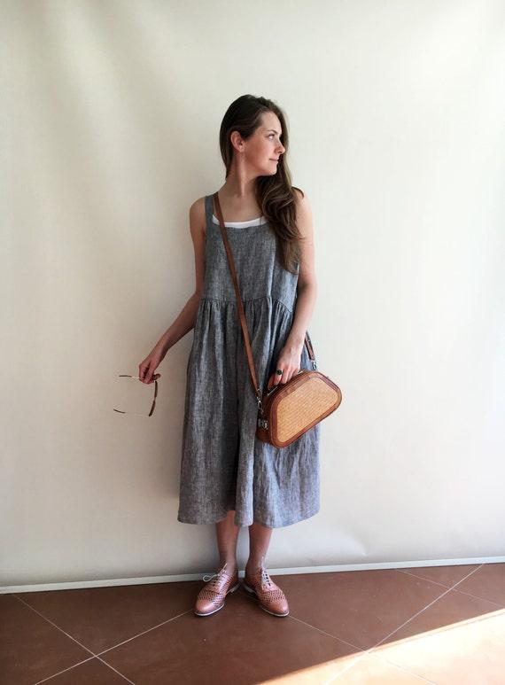 8a0be8de29 Linen Dress Pinafore Dress Sleeveless Maxi Dress Pinafore