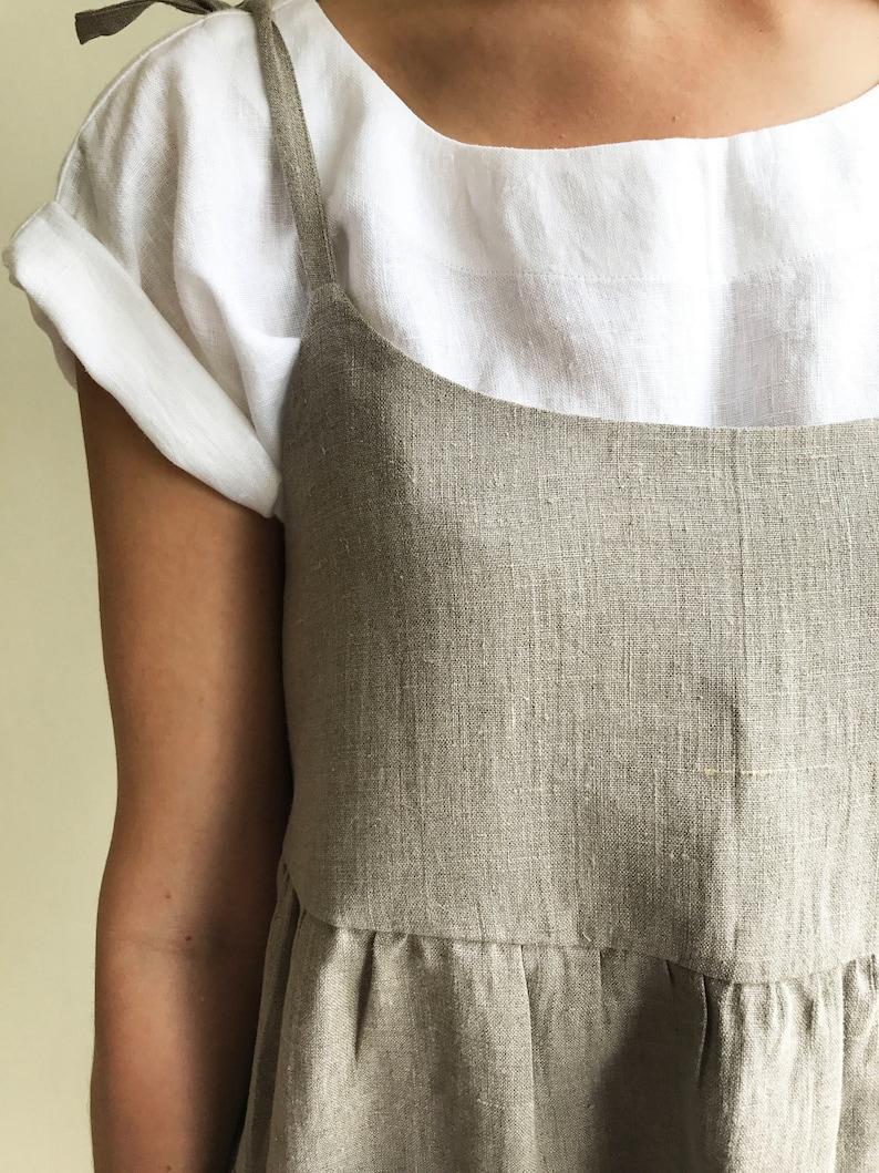 037e3c843a Natural Linen Strap Dress Womens Sundress Linen Jumper