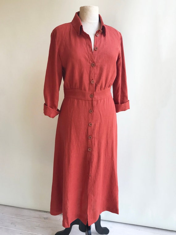 Button Up Midi Dress Mia With Long Sleeves Linen Etsy