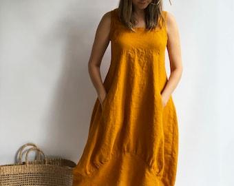 """Linen Summer Dress """"Samantha"""" Long Sleeveless Dress, Linen Beach Dress, Womens Dress, Plus Size Dress, Loose Linen Dress Women Beach"""
