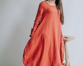 """Linen Dress """"Suzanna"""" Linen Balloon Dress Woman, Plus size Dress Pockets Winter Linen Dresses for Women, Maxi Dress Linen, Long Dress Tent"""