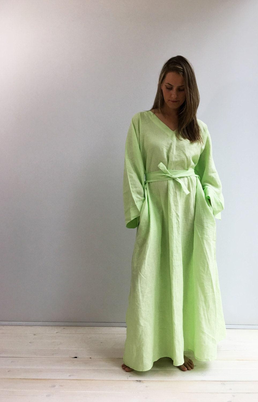 Linen kaftan, linen robe, Linen Homewear, Linen loungewear, plus ...