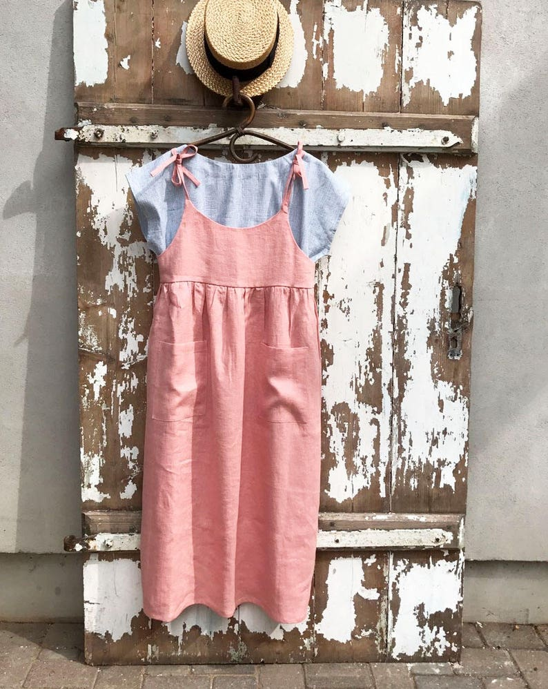 c3a21e6fb Ready to Ship  Soft Pink Linen Sundress Size S M Linen Strap