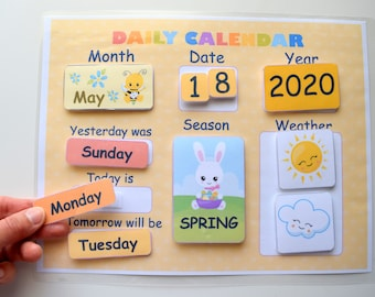 Perpetual Felt Calendar For Kids Toddler Montessori Educational Learning Toy Busy Bag Activity