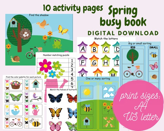 Spring busy book printable for kids Spring activity workbook