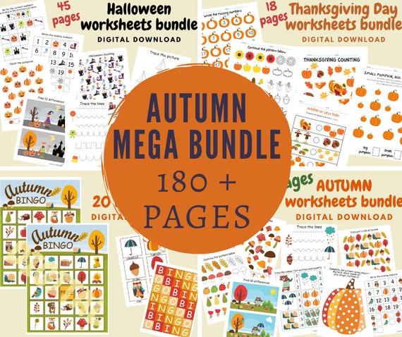 Fall worksheets for kids Autumn preschool and kindergarten