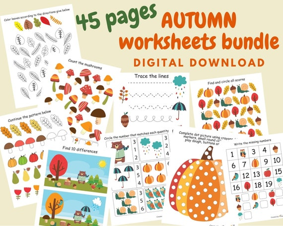 Autumn preschool worksheets for kids Fall busy book