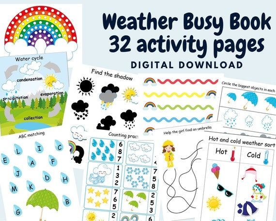Weather busy book for toddler and Kindergarten activity