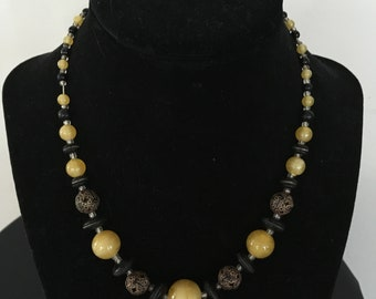Vintage Yellow, Black and Filigree Bead Necklace