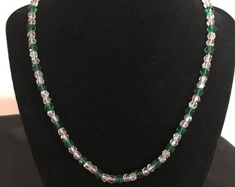 Vintage Emerald Green and Clear Crystal Necklace