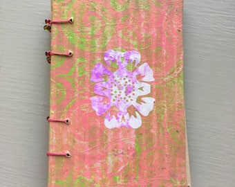 Coptic Stitch Sketchbook - Pink and Green