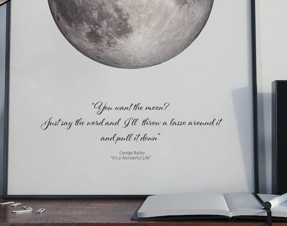 Lasso The Moon Quote Minimal Poster Fine Art Print Home Decor Etsy