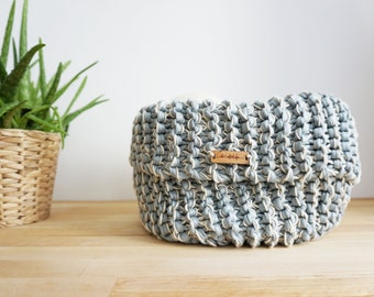 Basket JIL in Grey | Knitted Home Decor | Recycled Fabric