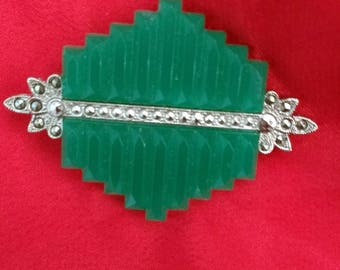 Green silver tone Art Deco brooch geometric faceted