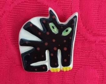 Handmade ceramic black cat brooch