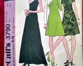 McCalls 3790 mod 1960s dress pattern, one shoulder option, diagonal seaming. For stretchable knits Size 10 32.5 B. UNCUT