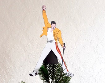 Freddy Mercury from Queen Christmas Tree Topper, Gift for music fans, Gay Christmas, alternative decor, wine bottle cover